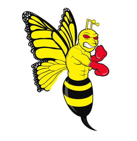 Illustration of a butterfly mixed bee in an angry fighter stance