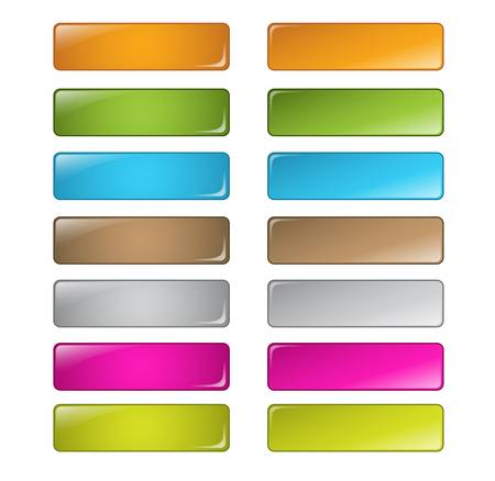 vector multicolored glossy rounded square buttons