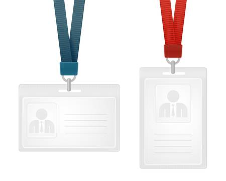 illustration of identification cards with place for photo and text