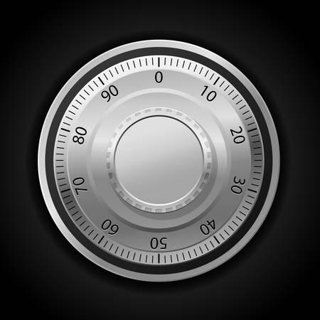 Illustration pour illustration of combination lock wheel dark background - image libre de droit
