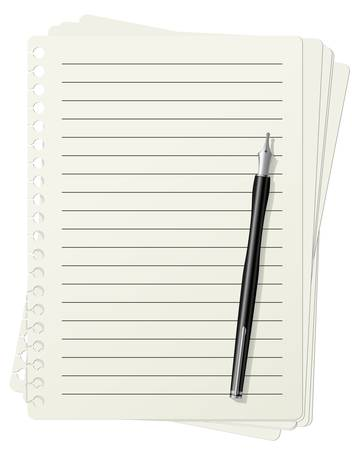 illustration of lined paper sheets and fountain pen