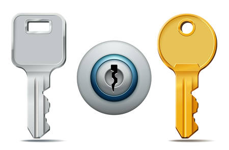 Vector illustration of two keys and keyhole icons