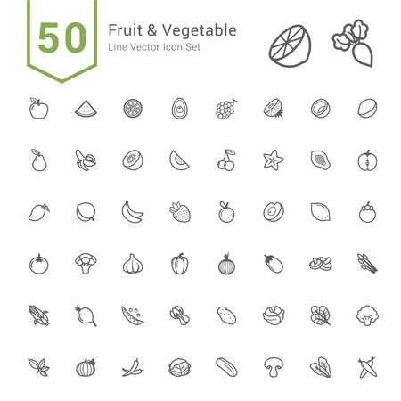 Foto de Fruit and Vegetable Icon Set. 50 Line Vector Icons. - Imagen libre de derechos