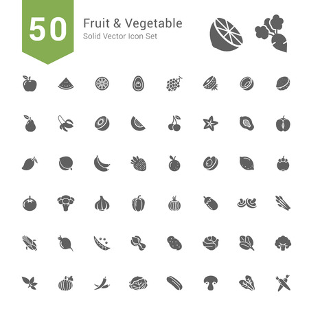 Fruit and Vegetable Icon Set  50 Solid Vector Icons