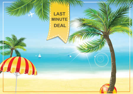 Last Minute Hot deals - summer seaside background with palm trees and parasol umbrella. Print colors used. A3 Format