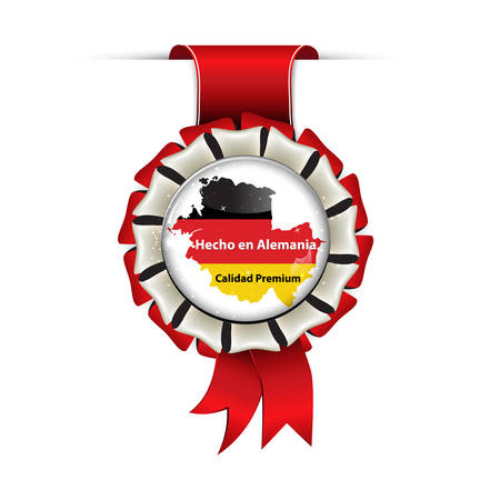 Award ribbon in Spanish language. Translation: Made in Germany, Premium Quality (Hecho en Alemania. Calidad Premium)