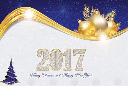 Photo pour Elegant 2017 Christmas and New Year greeting card with Christmas decorations (Christmas baubles and Christmas tree, fireworks). Print colors used. Size of a custom postcard - image libre de droit
