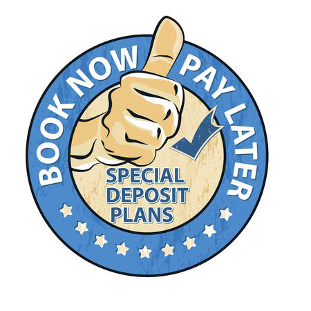 Illustration pour Book now and pay later. Special deposit plans - icon / stamp / button for travel agencies and retail business. Print colors used - image libre de droit