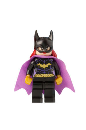 ADELAIDE, AUSTRALIA - October 17 2014:A studio shot of a Bat Girl Lego minifigure from the DC Comics and Movies. Lego is extremely popular worldwide with children and collectors.