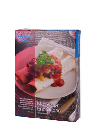 Adelaide, Australia - June 14, 2015: A box of Jenny Craig Cuisine Mexicana Enchiladas isolated on a white background. Jenny Craig is a Weight Management and Nurtrition Company founded in the 1980's. The company now operates internationally and assists peo