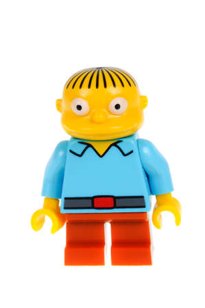Adelaide, Australia - February 07, 2016: A studio shot of a Ralph Wiggum Lego minifigure from the animated series The Simpsons. Lego is extremely popular worldwide with children and collectors.