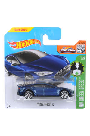 Adelaide, Australia - April 03, 2016:An isolated shot of an unopened Tesla Model S Hot Wheels Diecast Toy Car. Replica Vehicles made by Hot Wheels are highy sought after collectables.