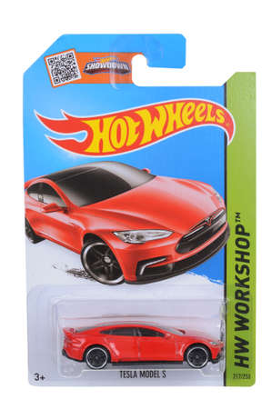 Adelaide, Australia - April 05, 2016:An isolated shot of an unopened Tesla Model S Hot Wheels Diecast Toy Car. Replica Vehicles made by Hot Wheels are highy sought after collectables.