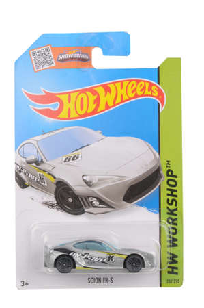 Adelaide, Australia - May 14, 2016:An isolated shot of an unopened Scion FR-S Hot Wheels Diecast Toy Car. Replica Vehicles made by Hot Wheels are highy sought after collectables.