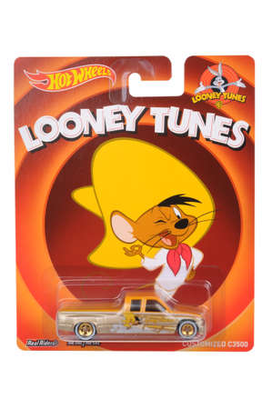 Adelaide, Australia - June 07, 2016:An isolated shot of an unopened Speedy Gonzales Custom Chevy C3500 Hot Wheels Diecast Toy Car. Replica Vehicles made by Hot Wheels are highy sought after collectables.