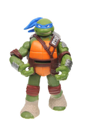 Adelaide, Australia - August 16, 2016: An isolated image of a Leonardo TMNT Action Figure from the Teenage Mutant Ninja Turtles. Teenage Mutant Ninja Turtles is a very popular animated and movie series with merchandise being highly sought after collectabl