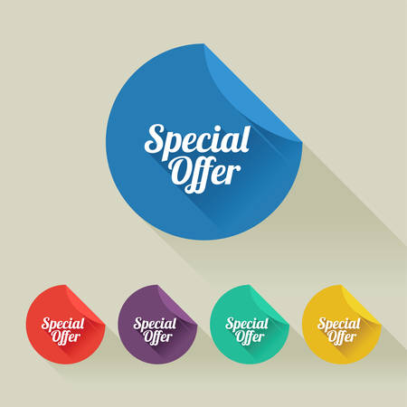 Flat design sale discount Speial Offer buttons collection with long shadow. All shadows are transparent, 10 EPS