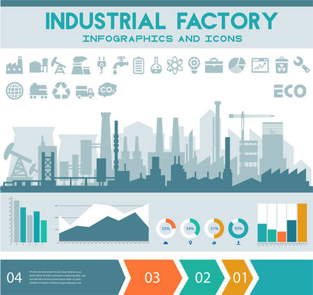 Illustration pour Industrial factory infographics with step banners and graph charts - image libre de droit