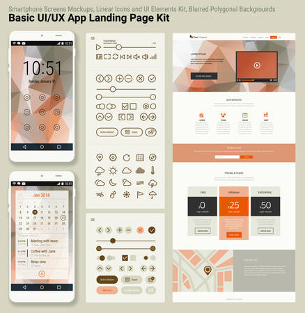 Flat design responsive pixel perfect UI mobile app and website template with trendy polygonal header background, basic linear UI kit, calendar app widget