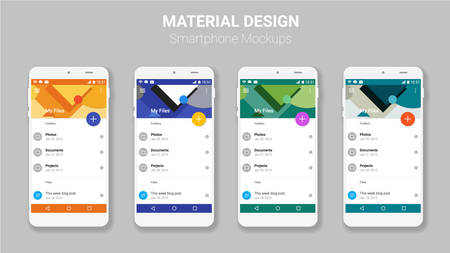 Trendy mobile smartphone UI kit, material geometric backgrounds. File manager material UI app screens