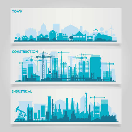 Photo pour horizontal banners skyline Kit with factories and industrial parts of cities and small towns or suburbs. Illustration divided on layers for create parallax effect - image libre de droit