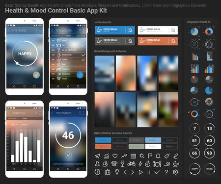 Flat design responsive Health and Mood Control UI mobile app template with trendy blurred backgrounds, smartphone mockups, notificatons, infographics charts kit and linear ui icons collection