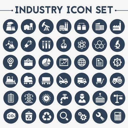 Illustration pour Trendy flat design big Industry icons set on round buttons - image libre de droit