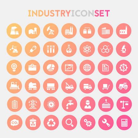 Illustration pour Trendy flat design big Industry icons set - image libre de droit