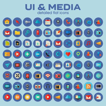 Illustration pour Ui and Multimedia big icon set, trendy flat icons - image libre de droit