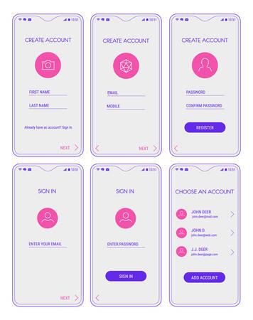 Illustration pour Trendy responsive mobile UI templates of login and registration mobile app template with smartphone mockups - image libre de droit