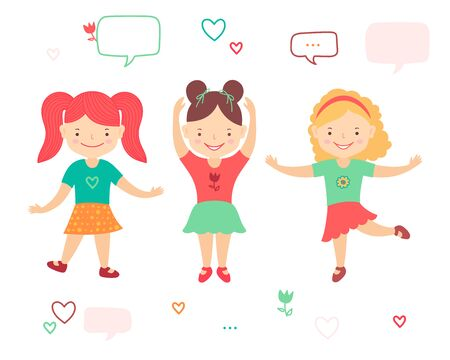 Illustration for Cute happy little girls dancing. Cartoon style. Colorful vector clipart illustration isolated on white background. - Royalty Free Image