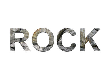 The word ROCK created with rock letters
