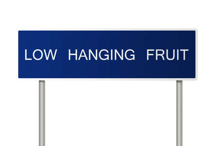 A blue road sign with white text saying Low Hanging Fruit