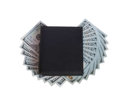 black purse is laid out on top of banknotes