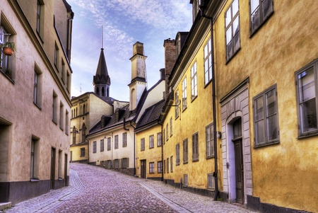 Cobblestone street in the old part of town.