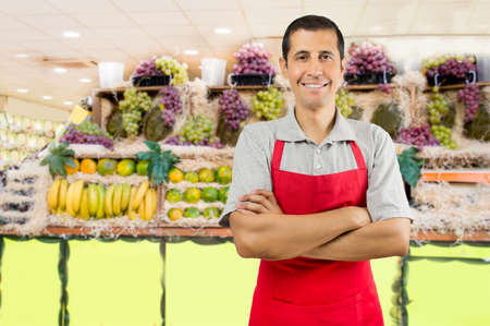 Photo for portrait of shopman at the fruits store with crossing arms - Royalty Free Image