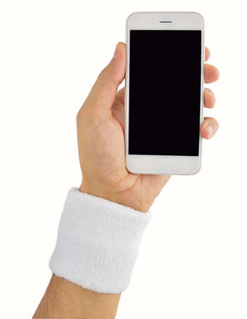 hand holding a smart phone wearing wristband tennis player isolated on white background