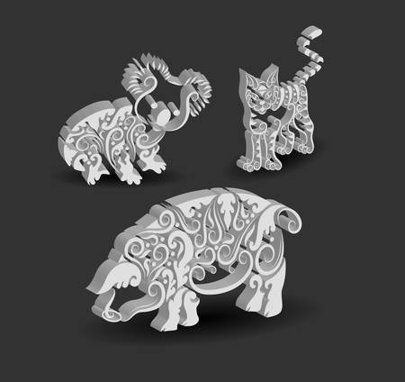 Animal Engraving Ornaments, 3d koala, cat, and pig