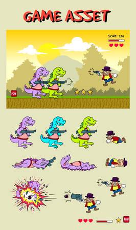 Illustration pour Dinosaur attack game asset - image libre de droit