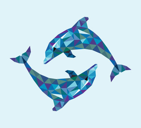 Dolphin triangle low polygon style. Nice and clean vector. Good use for your symbol, mascot, website icon, avatar, sticker, or any design you want. Easy to use.