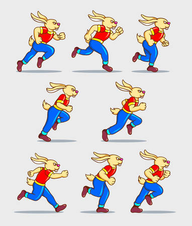 Illustration pour Running rabbit cartoon character sprite sheet game asset. You can use for sport animation, games, or any design you want. Easy to use. - image libre de droit