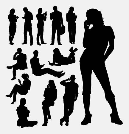 Male and female people with mobile phone silhouettes