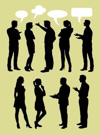 Foto de People talking with speech bubbles silhouette - Imagen libre de derechos