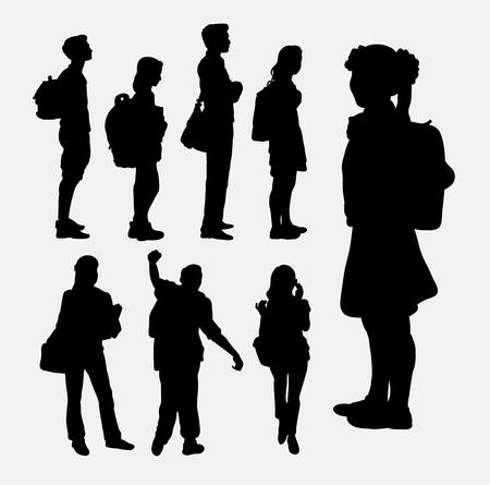 Illustration pour People going to school silhouettes - image libre de droit