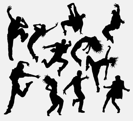 Hip hop male and female dancer silhouettes
