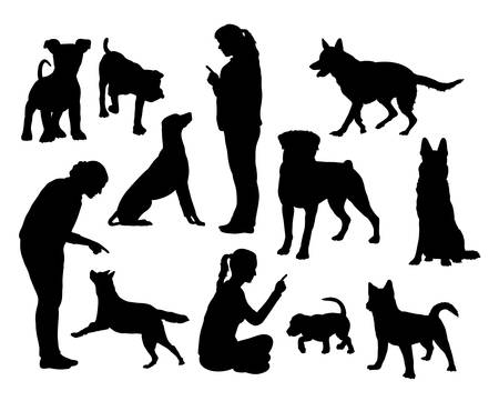 Dog training silhouettesのイラスト素材