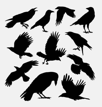 Illustration pour Crow bird, poultry animal silhouette. - image libre de droit