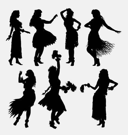 Illustration for Hawaiian hula girl. Posing, dancing, sensual and sexy woman silhouette. - Royalty Free Image