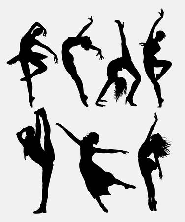 Illustration for Cool dancing 1. Modern dance woman activity silhouette. Good use for symbol, logo, web icon, game elements, illustration, sign, or any design you want. Easy to use. - Royalty Free Image