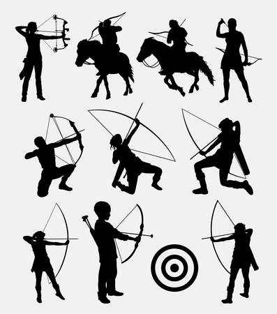 Ilustración de Archery dart people male and female silhouette. Good use for symbol, web icon, logo, sign, mascot, or any design you want. Easy to use. - Imagen libre de derechos